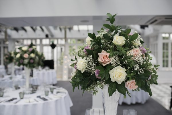Cambridgeshire wedding pretty rose flower bouquet with decorated dining room