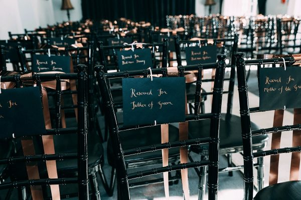 Reserved signs for your guests at country house wedding venue