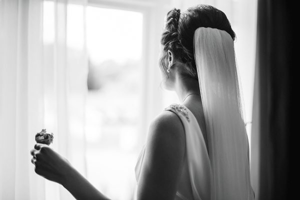 Bride getting ready for her big day in the luxurious Bridal Preparation room