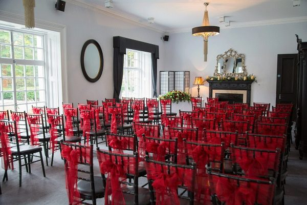 Red themed decor at Swynford Manor