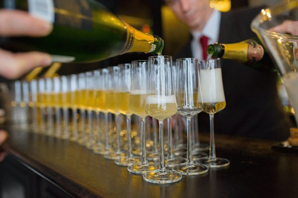 Wedding champagne at the bar for Cambridgeshire weddings