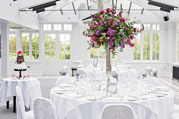 Colourful dining arrangements and cake