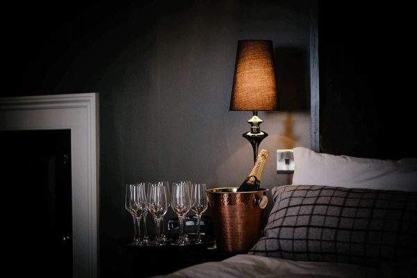 Opulent wedding bedrooms with champagne