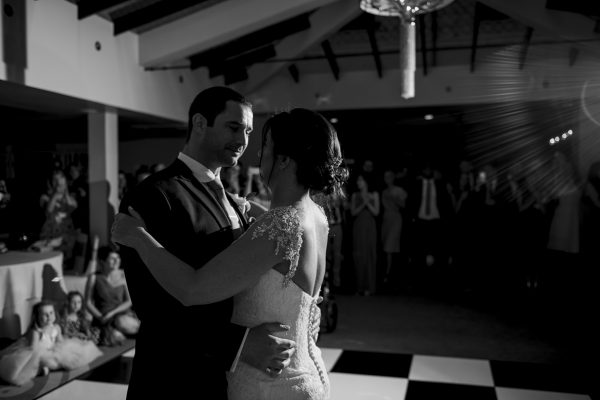 Bride and groom black & white first dance Cambridgeshire weddings
