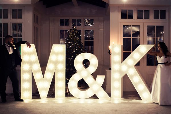 Add wow factor to your wedding decorations with some light up letters