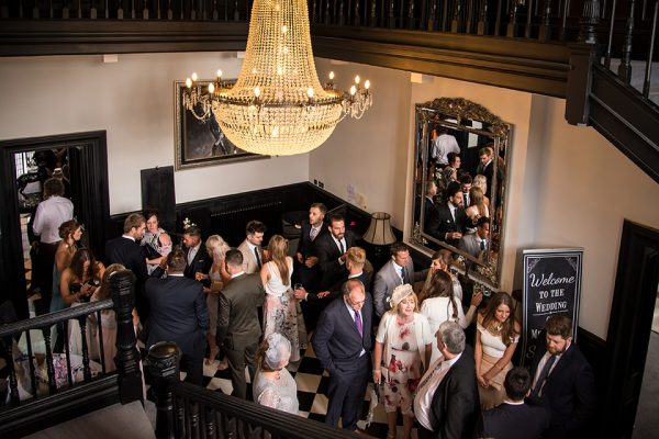 There is lots of space for guests to mingle inside Swynford Manor perfect for a winter wedding