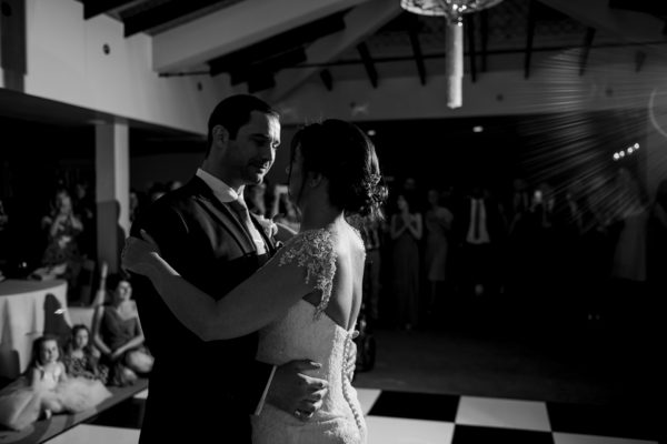 The bride and groom enjoy their first dance on their wedding day at Swynford Manor
