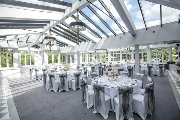 The Garden Room at Swynford Manor is ideal for a light and bright wedding reception